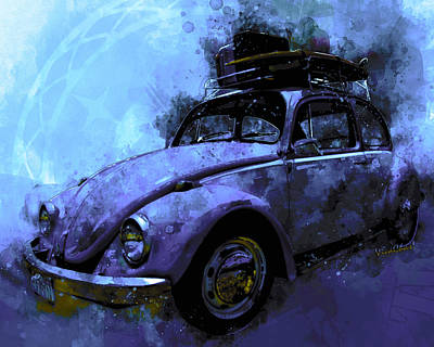 Digital Art - Classic Vw Road Trip Driving Machine by Chas Sinklier