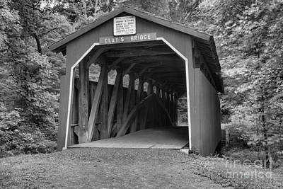 Photograph - Clay's Covered Bridge Black And White by Adam Jewell