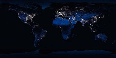 Painting - Clear Shot Of Every Parcel Of Earths Land Surface And Islands In Nighttime View In Visible Light by Celestial Images