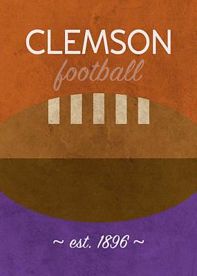 Clemson Wall Art - Mixed Media - Clemson Football Minimalist Retro Sports Poster Series 010 by Design Turnpike