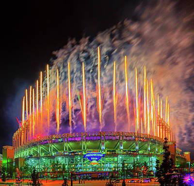 Photograph - Cleveland Baseball Fireworks Awesome by Richard Kopchock