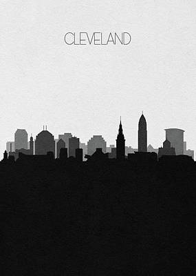 Drawing - Cleveland Cityscape Art V2 by Inspirowl Design