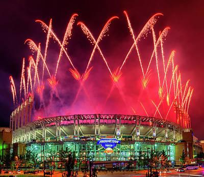 Photograph - Cleveland Indians Fireworks by Richard Kopchock