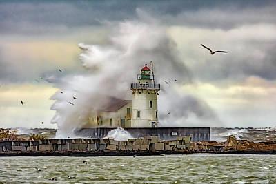 Photograph - Cleveland Lighthouse Storm  by Richard Kopchock