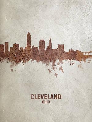 Digital Art - Cleveland Ohio Rust Skyline by Michael Tompsett