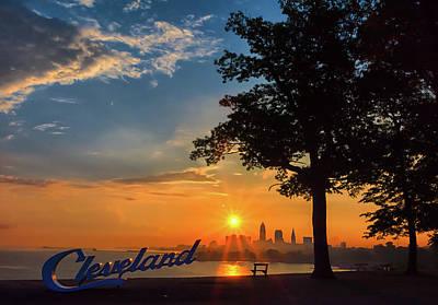 Photograph - Cleveland Sign Sunrise by Richard Kopchock