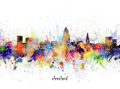 Abstract Skyline Royalty-Free and Rights-Managed Images - Cleveland Skyline Artistic by Bekim M