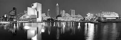 City Scenes Royalty-Free and Rights-Managed Images - Cleveland Skyline at Dusk Black and White Rock Roll Hall Fame by Jon Holiday