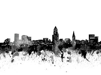 Abstract Skyline Royalty-Free and Rights-Managed Images - Cleveland Skyline Bw by Bekim M