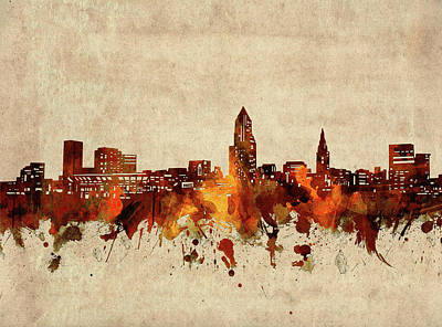 Abstract Skyline Royalty-Free and Rights-Managed Images - Cleveland Skyline Sepia by Bekim M