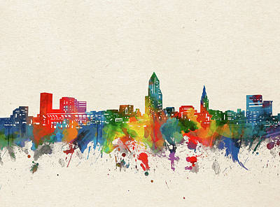 Abstract Skyline Royalty-Free and Rights-Managed Images - Cleveland Skyline Watercolor by Bekim M