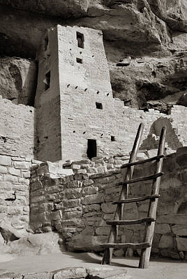 Photograph - Cliff Palace Tower At Mesa Verde National Park - Sepia  by Gregory Ballos