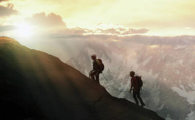 Climbers On A Mountain Ridge Art Print by Buena Vista Images