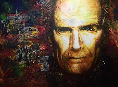 Painting - Clint Eastwood advanced by David Rhys