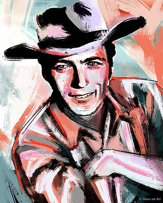 Wine Down Royalty Free Images - Clint Eastwood painting Royalty-Free Image by Stars on Art