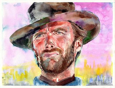 Carmel Wall Art - Painting - Clint Eastwood Portrait by Suzann's Art