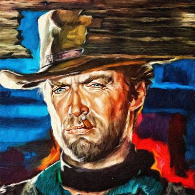 Painting - Clint Eastwood, Portrait by Vincent Monozlay