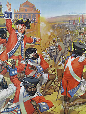 Painting - Clive And His 500 Men Defending The Fort At Arcot Against 10,000 by Angus McBride