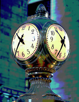 City Sunset Mixed Media - Clock Grand Central Station by Charles Shoup