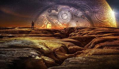 Digital Art - Clock solitude by Mihaela Pater