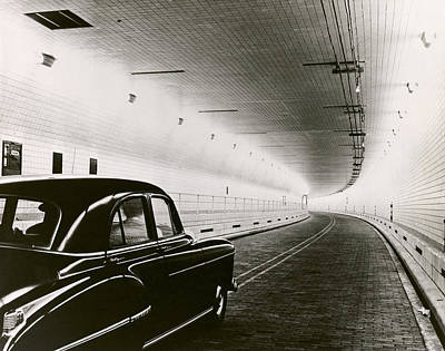Photograph - Close-up Of A Car Moving In A Tunnel by Superstock