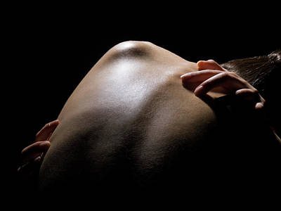 Naked Photograph - Close Up Of A Females Shoulder by Michael H