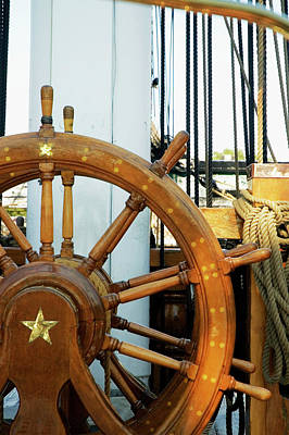 Photograph - Close-up Of A Ships Helm, Boston by Medioimages/photodisc