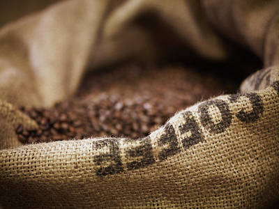 Photograph - Close Up Of Burlap Sack With Coffee by Adam Gault