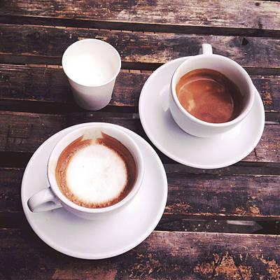 Photograph - Close-up Of Cups Of Espresso Coffee by Julija Svetlova / Eyeem