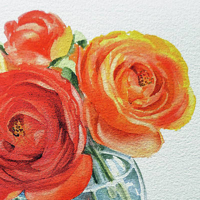 Painting - Close Up Of Ranunculus Flowers Watercolor by Irina Sztukowski