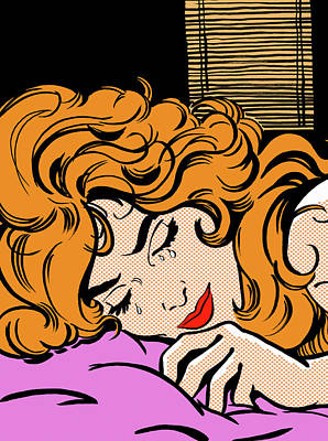 Eyes Closed Digital Art - Close Up Of Woman Crying In Bed by Jacquie Boyd