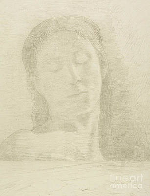 Drawing - Closed Eyes, 1890 Color Litho by Odilon Redon