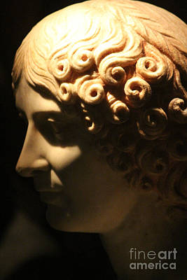 Photograph - Closeup Of Marble Bust Of Woman At Pompeii Exhibit  by Colleen Cornelius