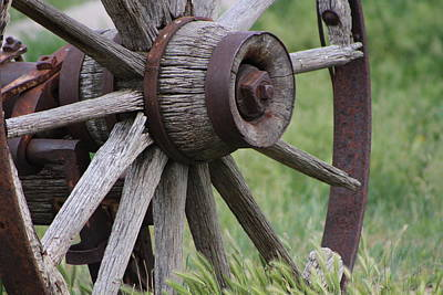 Photograph - Closeup Of Vintage Wagon Wheel by Colleen Cornelius