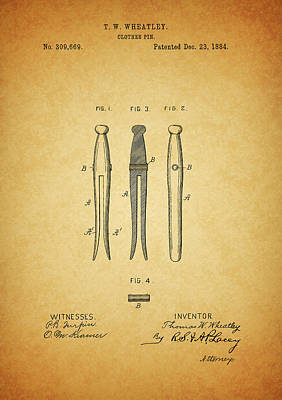 Drawing - Clothespin Patent by Dan Sproul