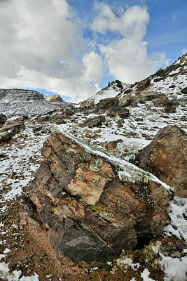 Photograph - Clouds Over Snow Covered Boulder Field Of Ruby Mountain by Ray Mathis