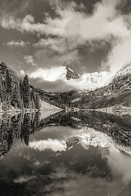 Photograph - Clouds Over The Maroon Bells In Sepia - Aspen Colorado by Gregory Ballos