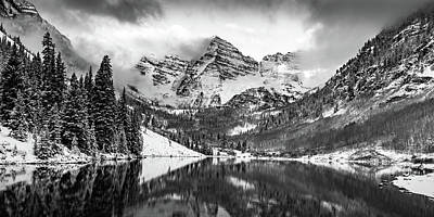 Photograph - Cloudy Maroon Bells Panoramic Landscape In Black And White by Gregory Ballos