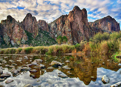 Photograph - Cloudy Reflections In The Salt River by Dave Dilli