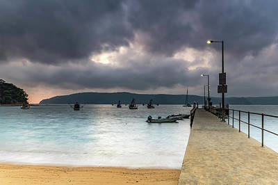 Photograph - Cloudy Start To The Day With Wharf And Boats by Merrillie Redden