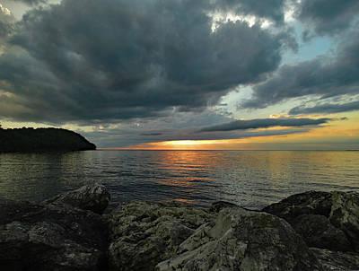 Glass Art - Cloudy Summer Sunset by David T Wilkinson