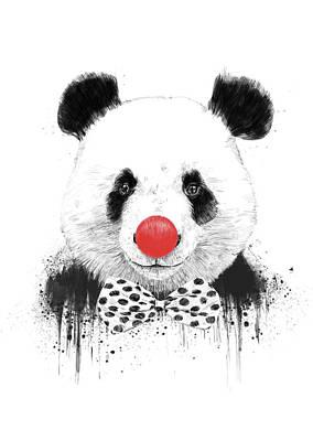 Drawing Mixed Media - Clown Panda by Balazs Solti