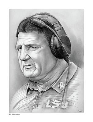 Sports Drawings - Coach Ed Orgeron by Greg Joens