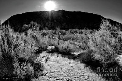 Photograph - Coachella Valley Preserve Mountain Sunset B And W by Blake Richards