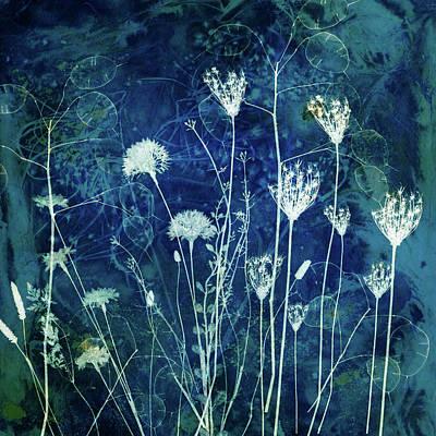 Digital Art - Coalesce in Blue #1 by Glenys Garnett