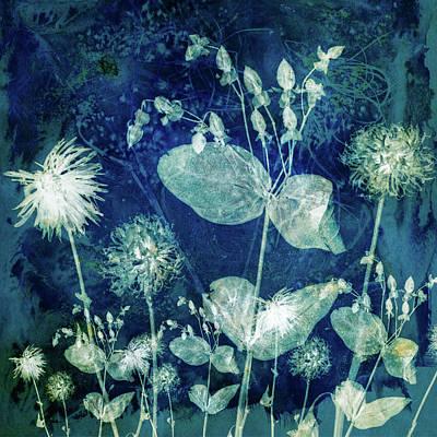 Digital Art - Coalesce in Blue #2 by Glenys Garnett