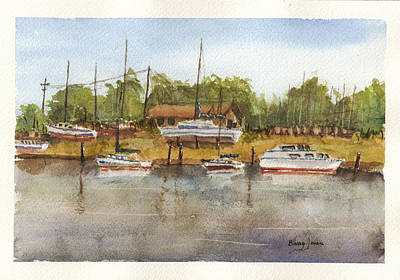Painting - Coastal Boatyard by Barry Jones