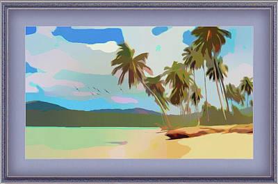 Mixed Media - Coastal Palm Trees by Clive Littin