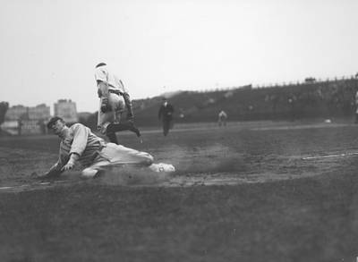 Photograph - Cobb Steals Third Base by Fpg