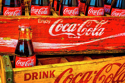 Photograph - Coca Cola Vintage Wooden Crates by Garry Gay